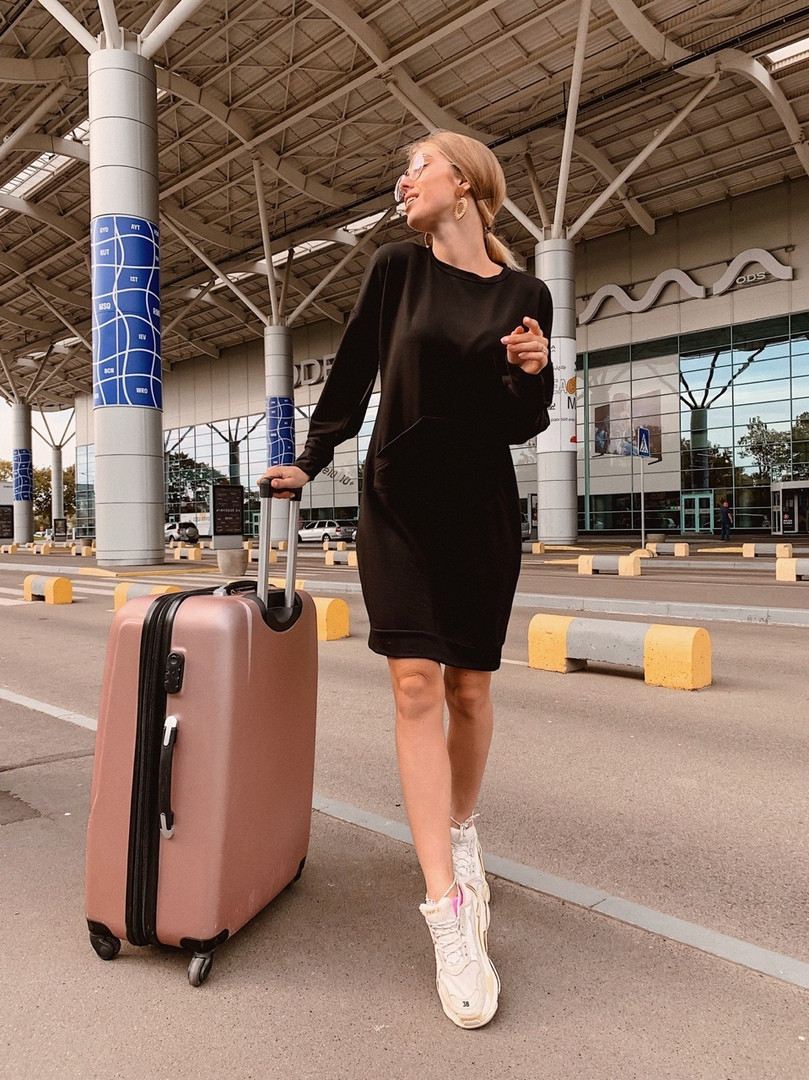 Короткое женское платье-худи - беж, чёрный ,розовый - фото 8