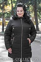 КУРТКА женская батальная осень/зима 54,56,58,60,62,64р ЧЕРНАЯ съемный капюшон с отстёгивающейся опушкой