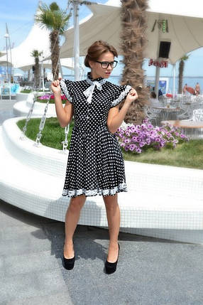 Платье в горошек с кружевом, фото 2