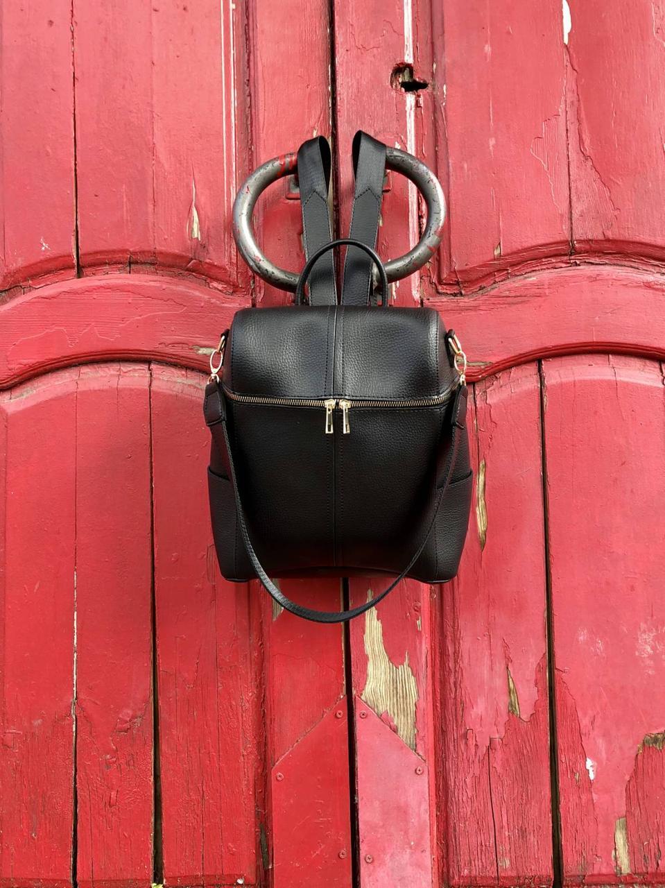 Сумка-рюкзак жіноча 46004 молодіжна трансформер чорна на плече