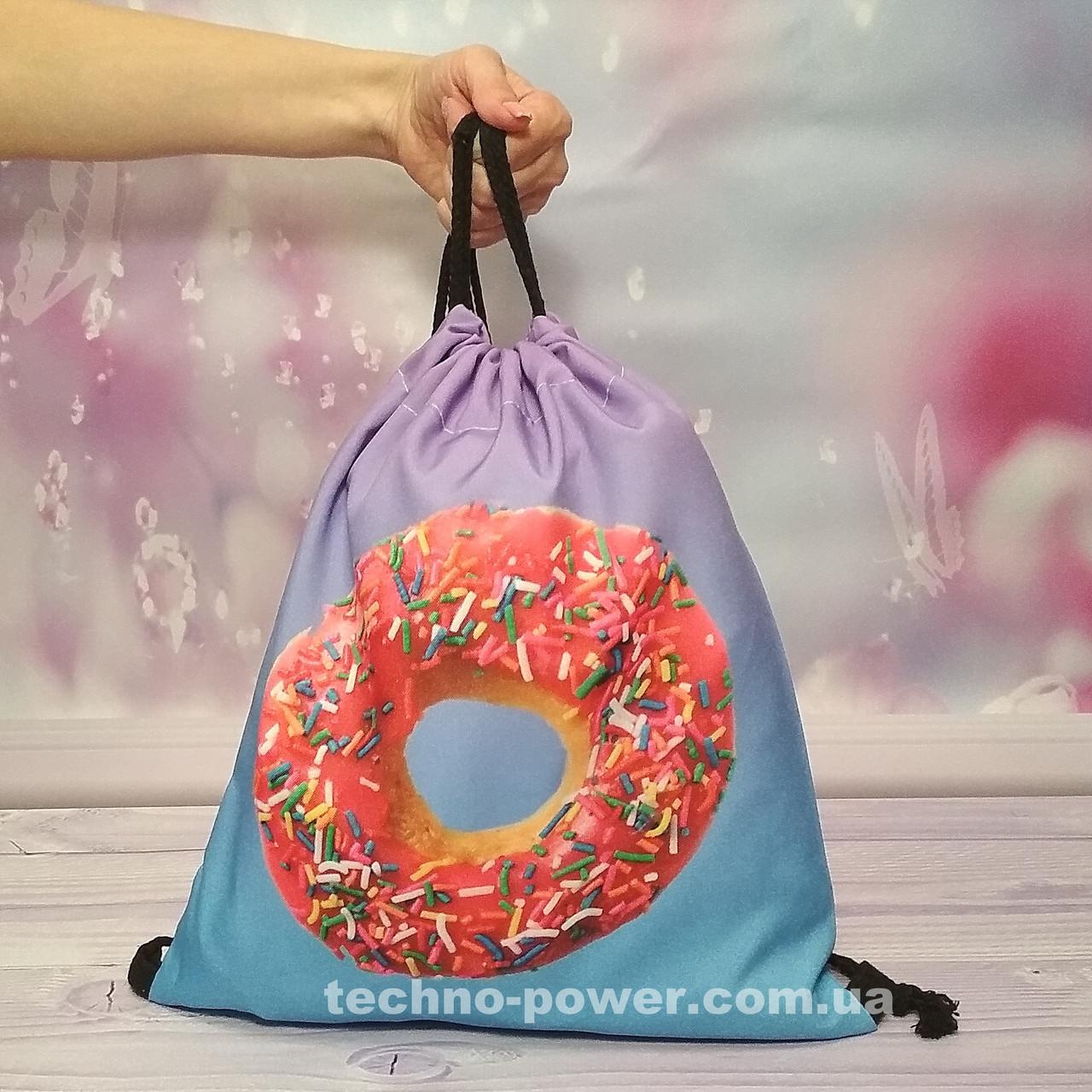 Сумка для домашних тренировок Пончик. Сумка-мешок с принтом для прогулок