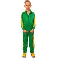 Костюм для тренировок детский LD-581-G (полиэстер, флис, р-р 26-32, зелетый-желтый) КодLD-581-G