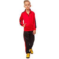 Костюм для тренировок детский LD-581-R (полиэстер, флис, р-р 26-32, красный-черный) КодLD-581-R