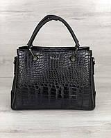 Черная сумка 32502 деловой саквояж каркасная классическая под крокодила, фото 1