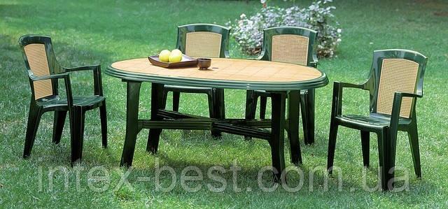 Комплект садовой мебели Wood 4 четире кресла и стол из высококачественного пластика. Италия., фото 2