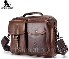 Стильная сумка-портфель Месенджер с натуральной кожи