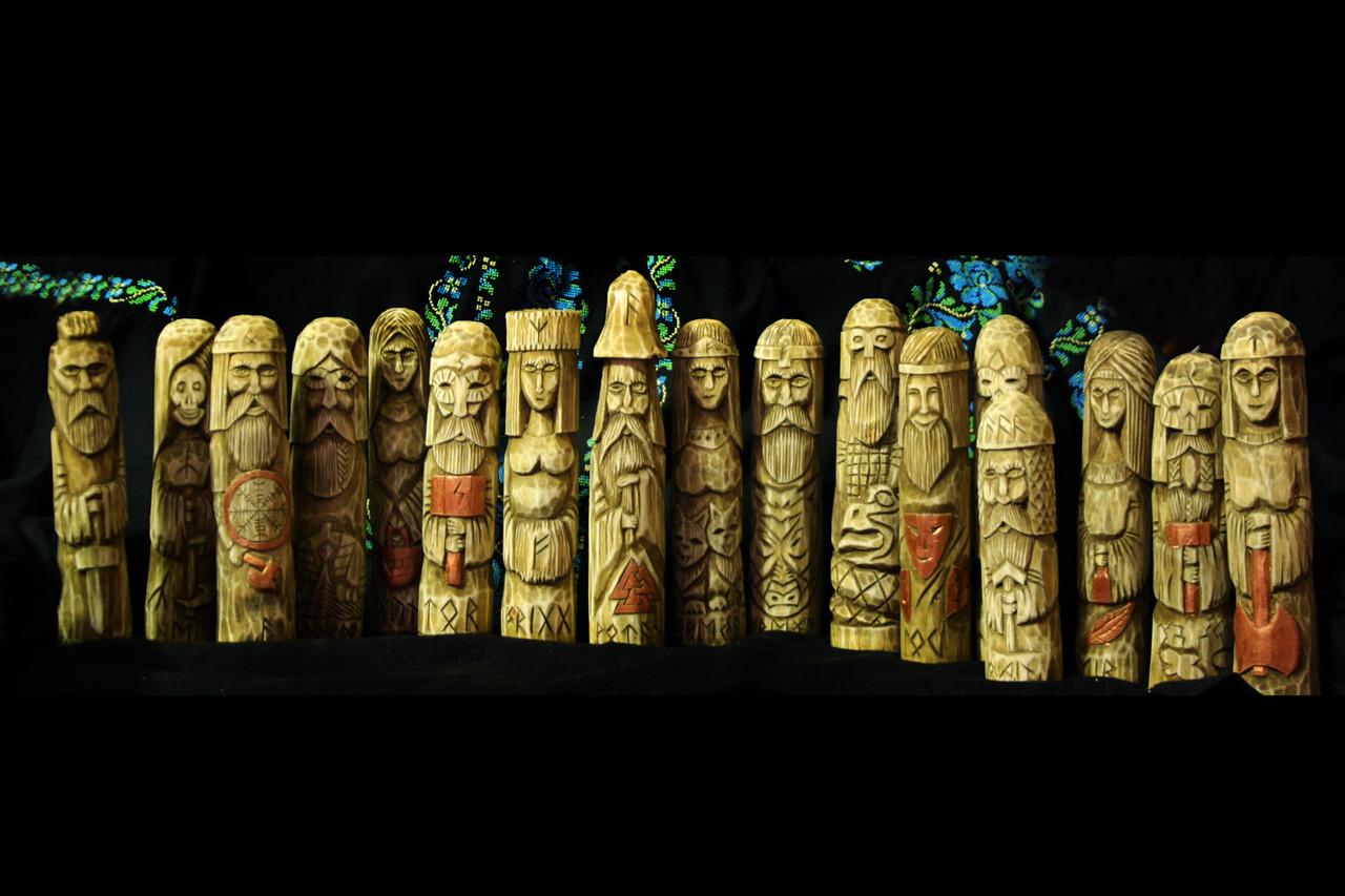 Скандинавськібоги - статуетки з дерева, 18 см