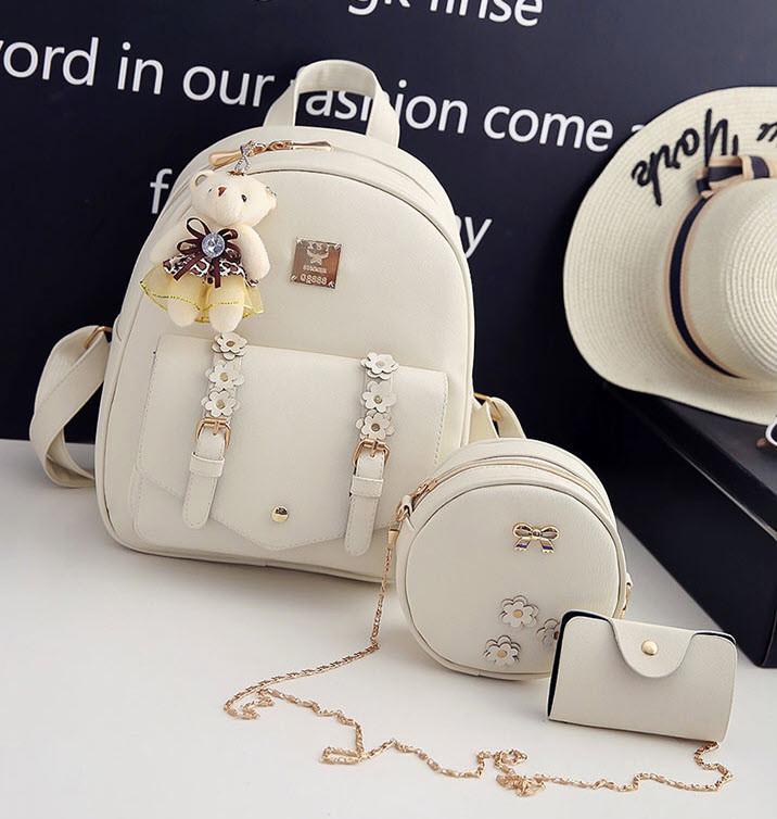Красивый набор 3в1 рюкзак, сумка, визитница, с брелком мишкой