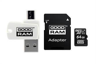 Карта памяти MicroSDXC 64GB UHS-I Class 10 GOODRAM + SD-adapter + OTG Card reader (M1A4-0640R12)