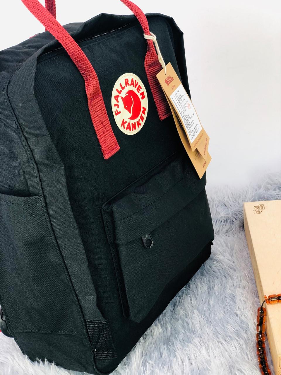 Рюкзак Fjällräven Kanken Classic Черный (красные ручки)