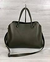 Оливковая сумка 57308 деловая женская саквояж с ручками, фото 1