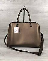 Бронзовая сумка 57312 деловая женская саквояж с ручками, фото 1