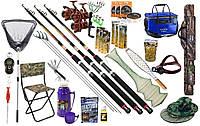Рыболовный набор Три cпиннинга Fat cat 23в1 катушка Cobra 4000 4ВВ чехол, садок, кормушки