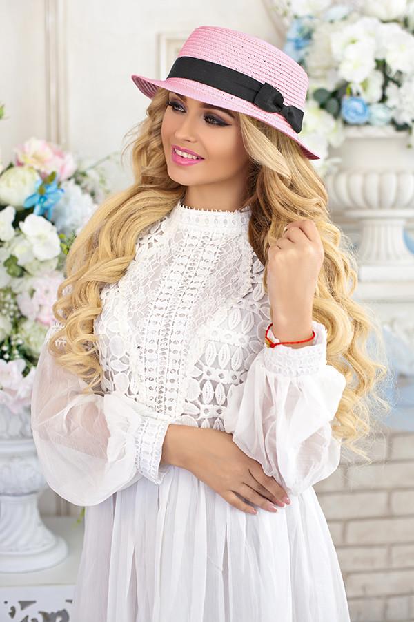 Соломенная шляпа-канотье «Мэгги» (розовый) Braxton