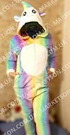 Кигуруми пижама костюм радужный Единорог р.XS-L