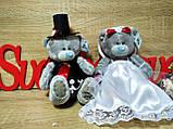 Украшение на свадебную машину Мишки Тэдди. Цвет марсала. Высота 19 см., фото 4