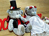 Украшение на свадебную машину Мишки Тэдди. Цвет марсала. Высота 19 см.