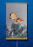 Картина обогреватель 60*100 см Листья на сером