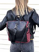 Сумка-рюкзак бордовая женская кожаная трансформер через плечо с черным K4577, фото 1