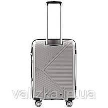 Средний чемодан из полипропилена премиум серии на 4-х двойных колесах с ТСА замком, фото 3