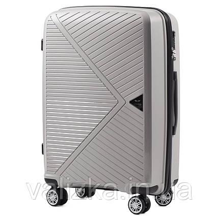 Средний чемодан из полипропилена премиум серии на 4-х двойных колесах с ТСА замком, фото 2