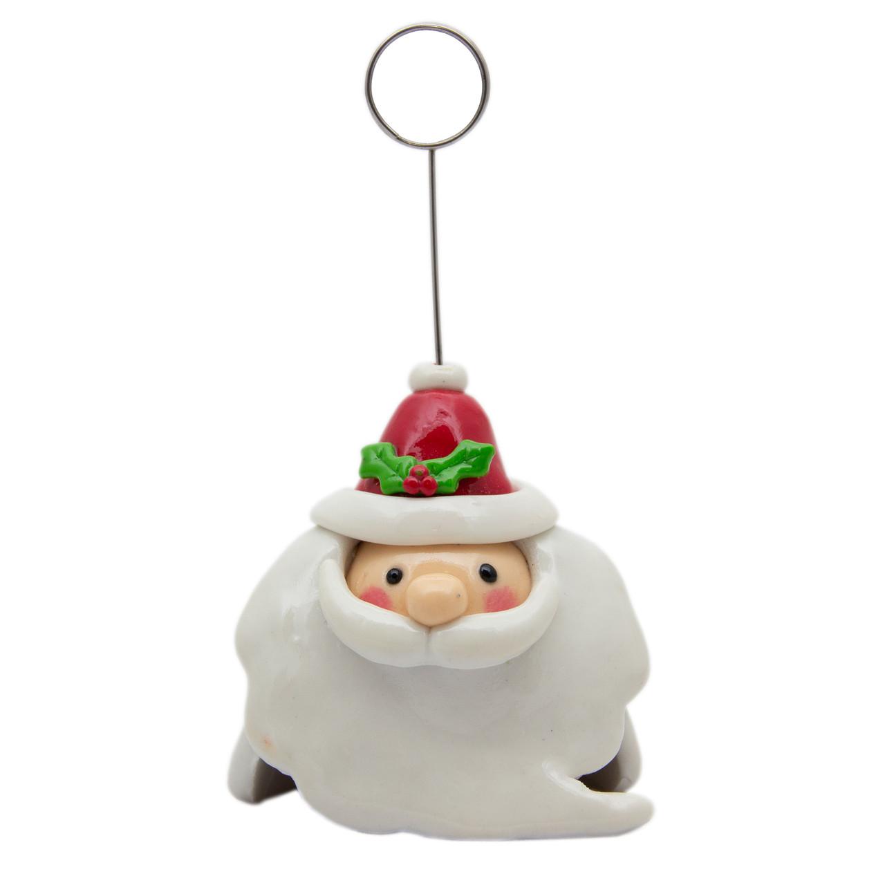 Новогодняя сувенирная фигурка из пластика - держатель визиток, Дед Мороз с красною шапкой 11, 5см (001347-5)