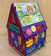 """Бизидом, домик для развития ребенка 50×35×30 см """"Счастливый цветной домик"""" именной!!!"""