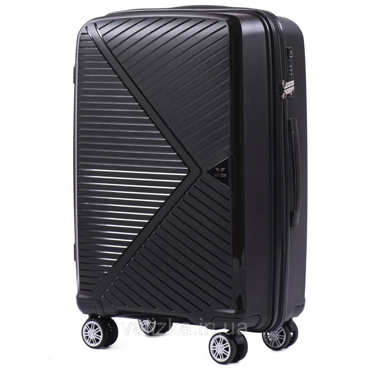 Черный средний чемодан из полипропилена премиум серии на 4-х двойных колесах с ТСА замком