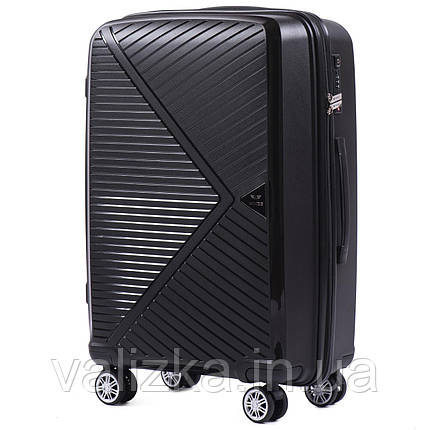Черный средний чемодан из полипропилена премиум серии на 4-х двойных колесах с ТСА замком, фото 2