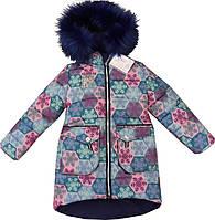 Зимнее пальто для девочки 1-5 лет - куртка очень теплая «Аляска» с опушкой на капюшоне (снежинки)