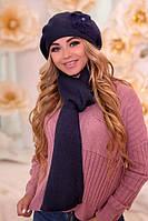 Комплект «Моника» (берет и шарф) (джинсовый)