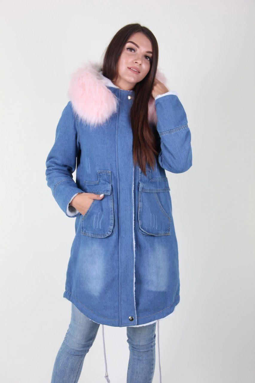 Удлиненная джинсовая куртка с мехом