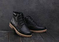 Подростковые Кожаные Зимние Ботинки Yuves 444 Черные