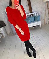 Платье женское повседневное,  теплое, миди, офисное, ровное, длинный рукав, свободное, прямого кроя, модное