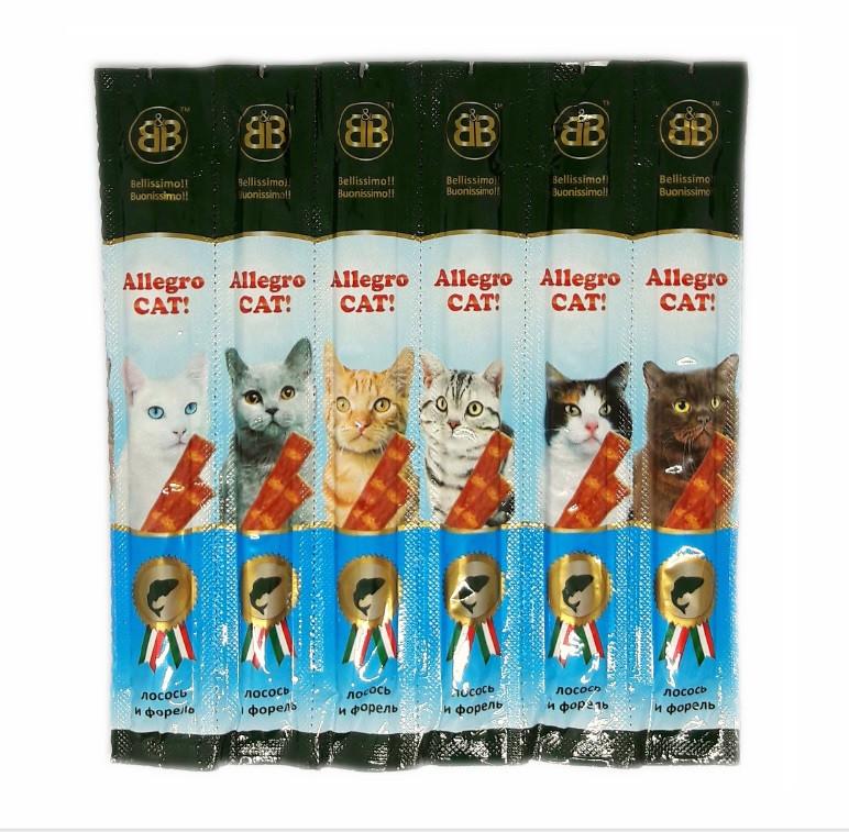 Колбаски с лососем и форелью для кошек B&B Allegro Cat 6 шт.