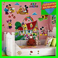 3D интерьерная виниловая наклейка на стену в детскую комнату Домик Микки Мауса