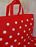 Стильная модная сумка красная в горох горошек для отдыха пляжа пикника покупок, фото 3