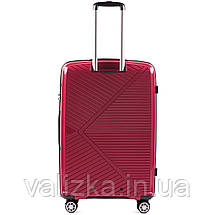 Большой красный чемодан из полипропилена премиум серии  на 4-х двойных колесах с ТСА замком, фото 3