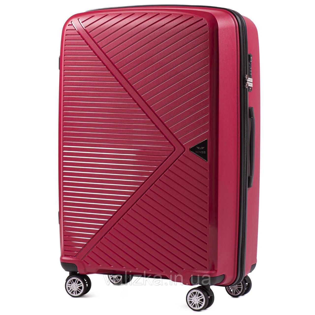 Большой красный чемодан из полипропилена премиум серии  на 4-х двойных колесах с ТСА замком