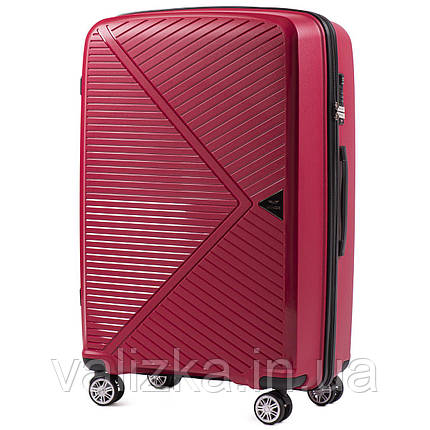 Большой красный чемодан из полипропилена премиум серии  на 4-х двойных колесах с ТСА замком, фото 2
