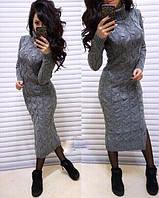 Вязанное теплое платьедлинное  р.42-48, фото 1