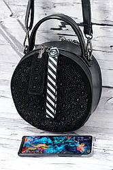 Круглый кожаный клатч с натуральным замшем Solana WP769 black.
