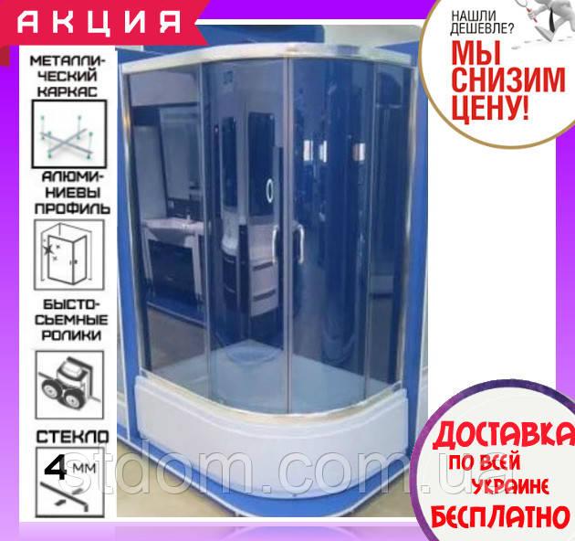 Угловая душевая кабина 115х85 см с поддоном 36 см Santeh 1115L Grey двери раздвижные левосторонняя