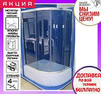 Угловая душевая кабина 115х85 см с поддоном 36 см Santeh 1115L Grey двери раздвижные левосторонняя, фото 1