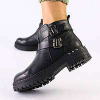 37,38,39 женские зимние кожаные ботинки полусапожки зима на высокой подошве на платформе черные Е78EС20IK