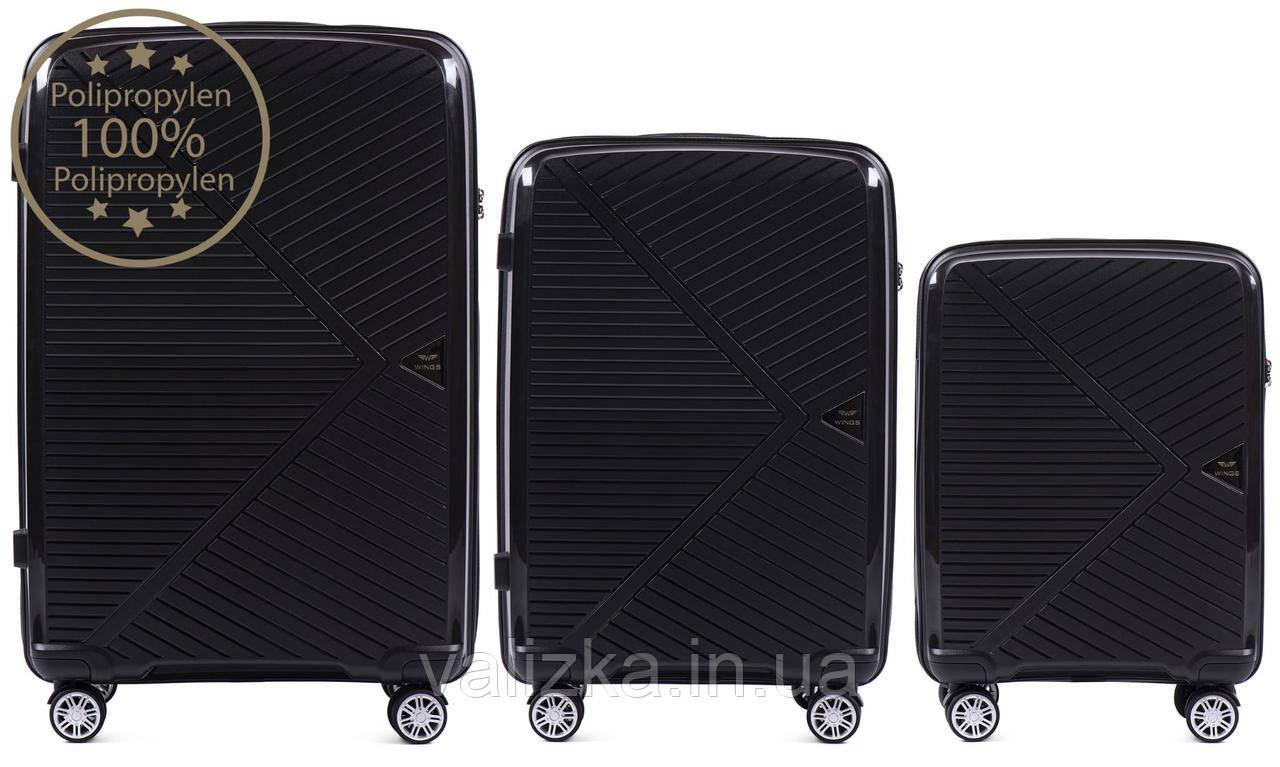 Комплект чемоданов из полипропилена премиум серии ручная кладь, средний, большой черный