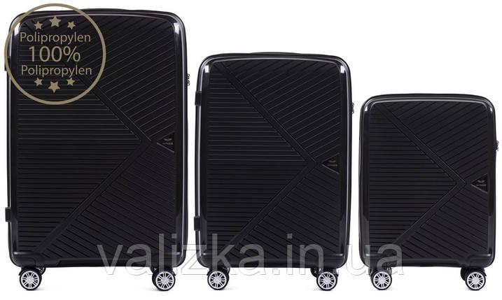 Комплект чемоданов из полипропилена премиум серии ручная кладь, средний, большой черный, фото 2