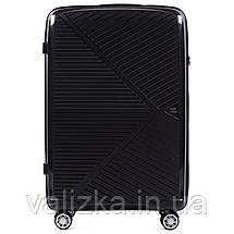 Комплект чемоданов из полипропилена премиум серии ручная кладь, средний, большой черный, фото 3