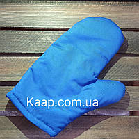 Перчатка-прихватка 25 см. синяя, хлопковая