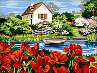 Картина по номерам Маки на берегу озера 30 х 40 см (VK064)